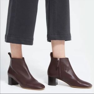 Everlane Day Leather Boots Ankle Maroon Sz 10